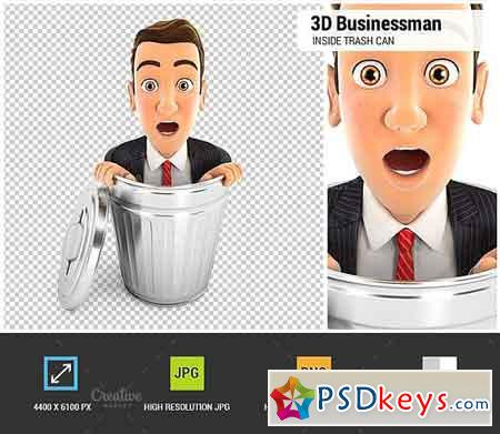 3D Businessman Inside Trash Can 1848168