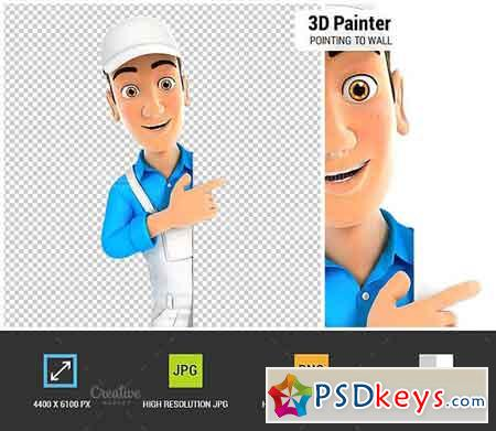 3D Painter Pointing to Right Wall 1848171