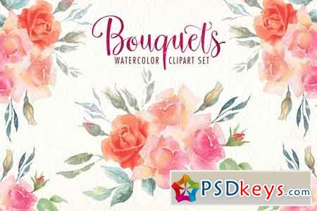 Watercolor bouquets clipart set 1847684