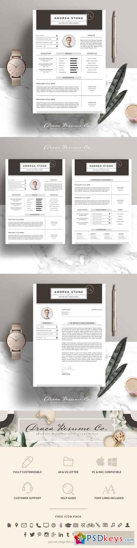 Resume Template 3 Page Pack AS 1825112