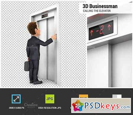 3D Businessman Calling the Elevator 1848167