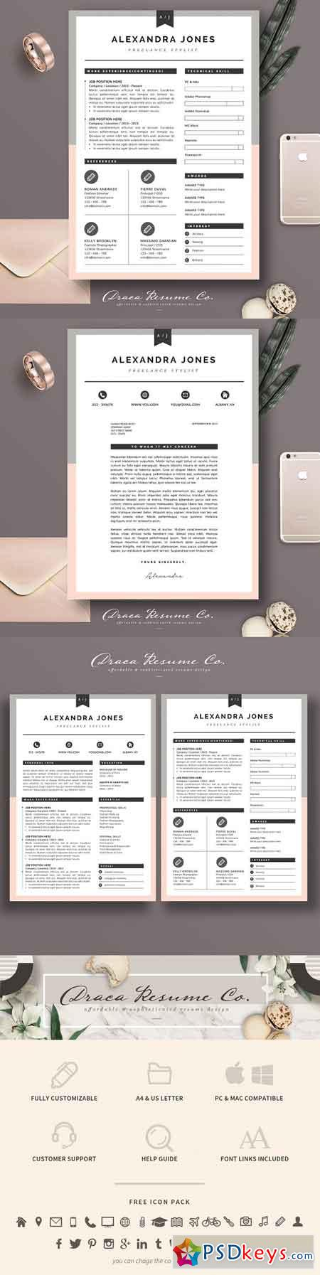 Resume Template 3 page pack AJ 1824769
