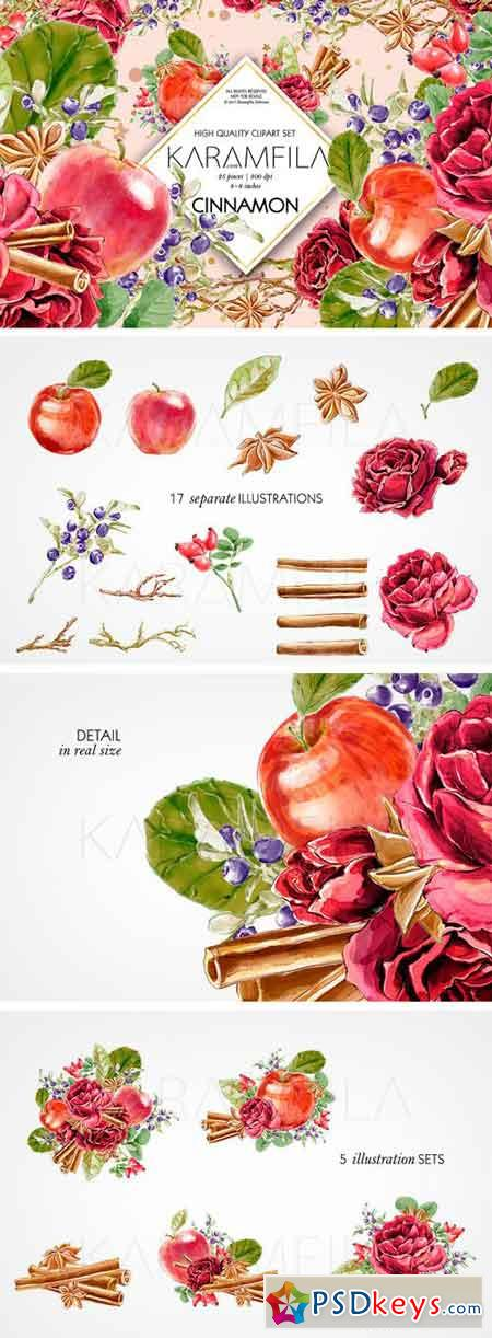 Cinnamon and Apples Clipart 1792678