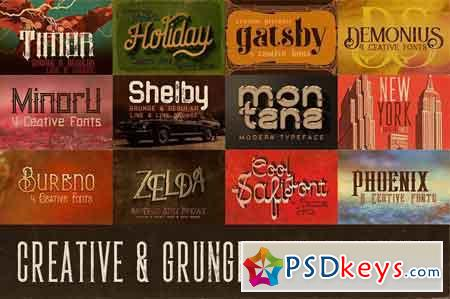 The Creative & Grunge Font Toolkit (12 font families)