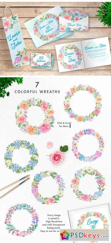 Spring Colors Watercolor Image Set 1769816