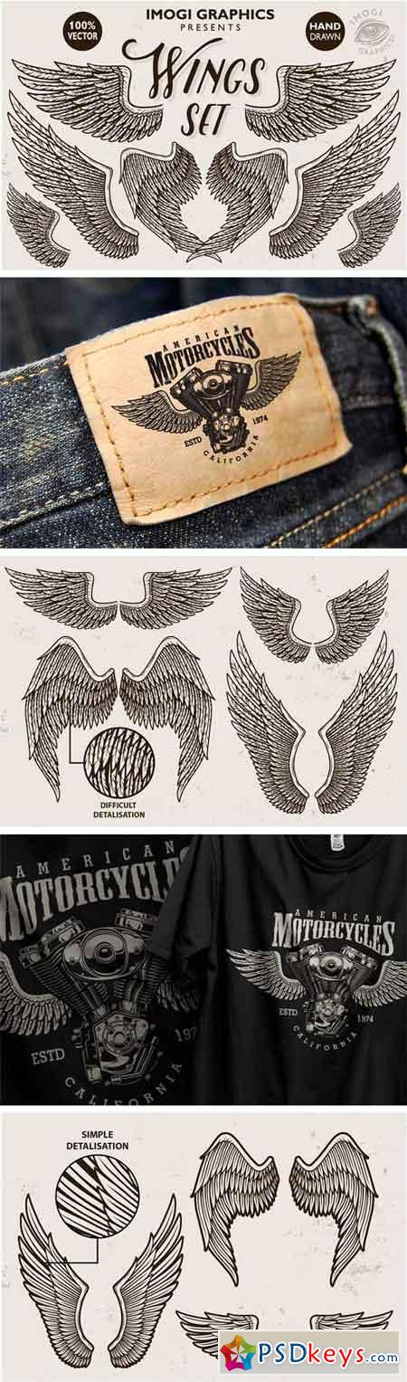 Hand Drawn Vector Wings Set 1779801