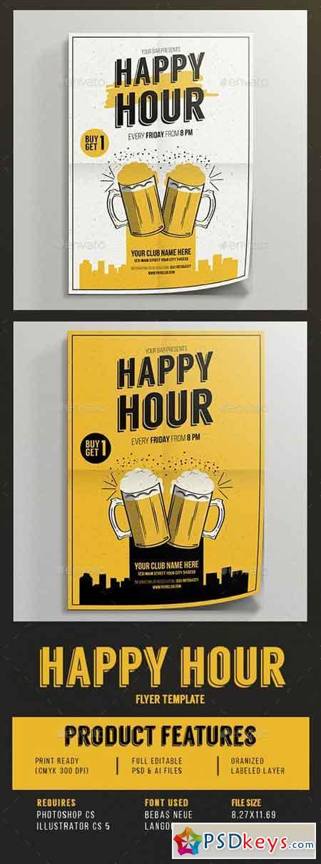 Happy Hour beer promotion flyer 14221507