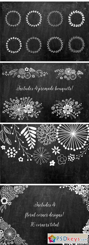 Chalkboard Floral Design Kit, AI PNG 1818797