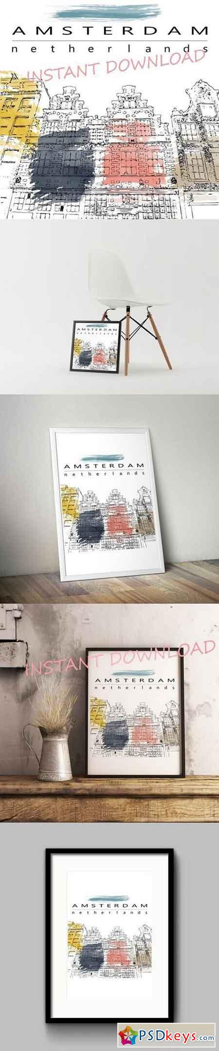 Amsterdam houses sketch illustration 1317572