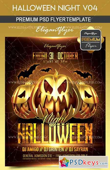 Halloween Night V04 – Flyer PSD Template + Facebook Cover