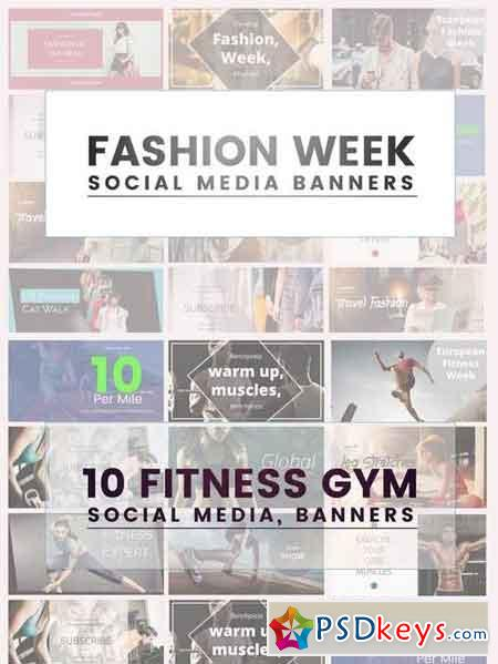 Fashion and Fitness Gym Social Media Banners, Facebook Banners