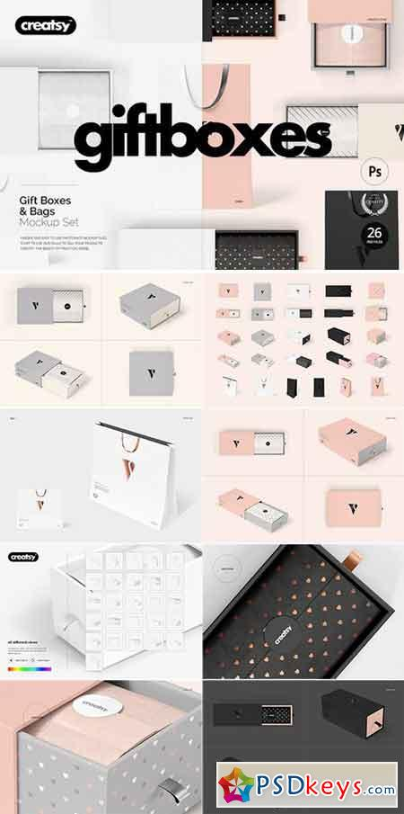 Gift Boxes and Bags Mockup Set 1834431