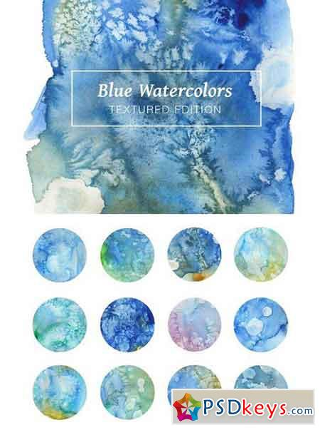 Blue Textured Watercolors 1794290