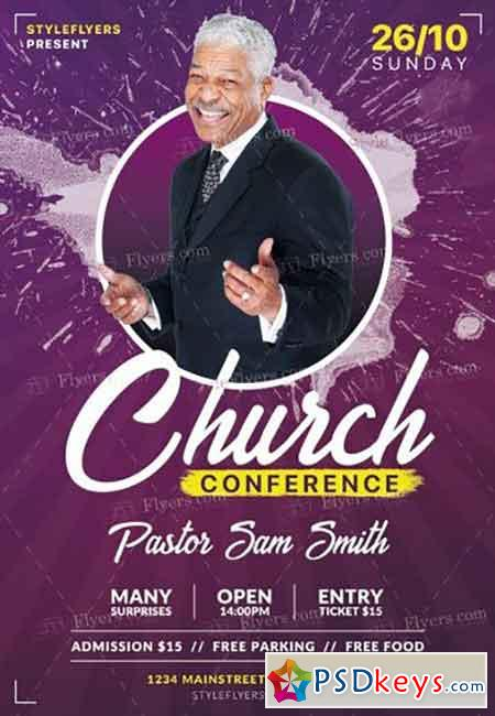 church conference psd flyer template  u00bb free download