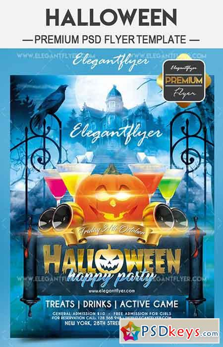 Halloween happy party – Flyer PSD Template + Facebook Cover