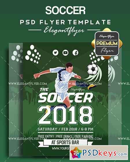 Soccer V03 – Flyer PSD Template + Facebook Cover » Free