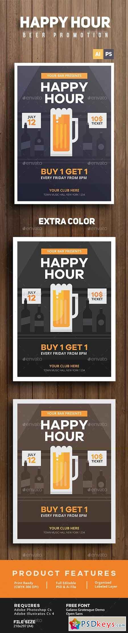 Happy Hour Beer Promotion Flyer 14265779