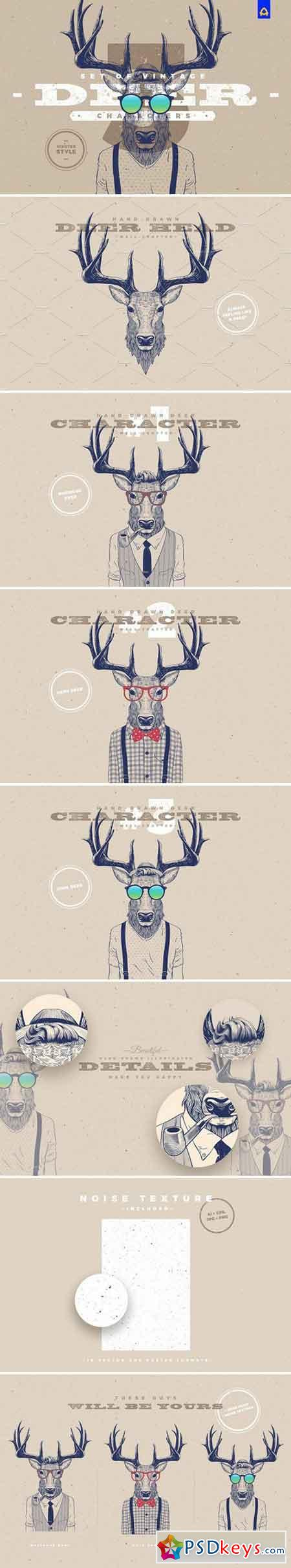 Hipster Deer Characters 1831347