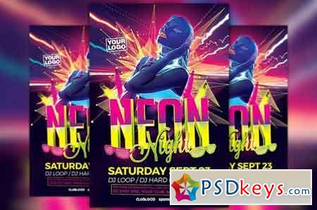 Neon Night Flyer Template 1820978
