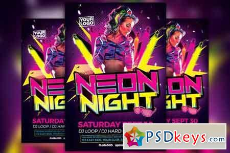 Neon Party Flyer Template 1820981