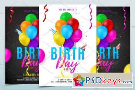 birthday party flyer template 1828750 free download photoshop