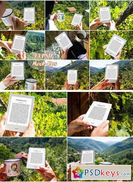 E-Book Reader, 13 PSD Mock-Ups, BUNDLE 1867191
