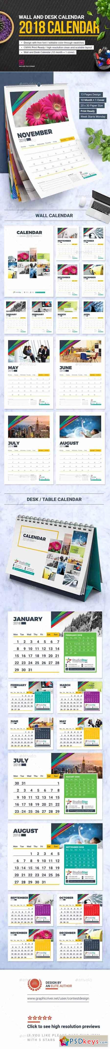 2018 Calendar Design Template Wall and Desk Table Calendar 2018