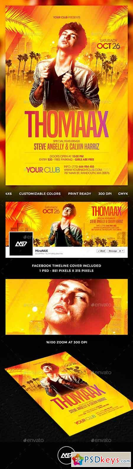 Special Club DJ Flyer PSD Template + FB Cover 12637292