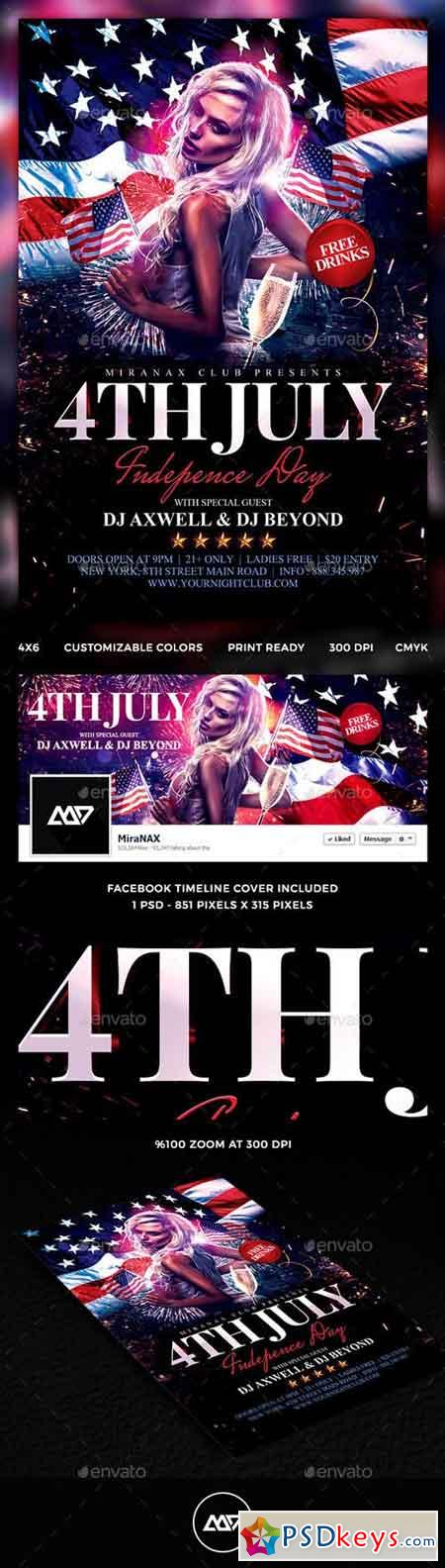 4th of July Flyer Template PSD 11601707