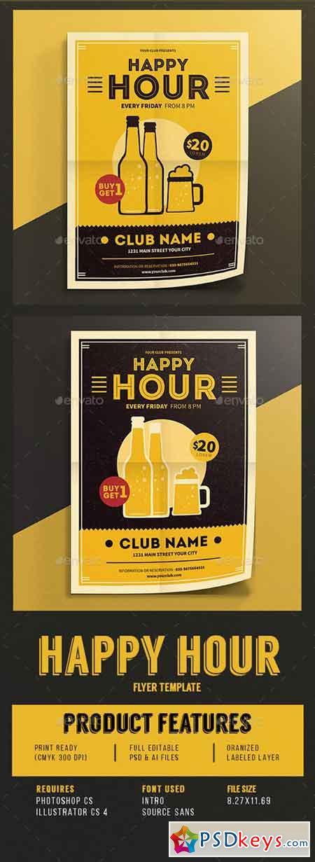 Happy Hour Beer Promotion Flyer Vol.03 14397848