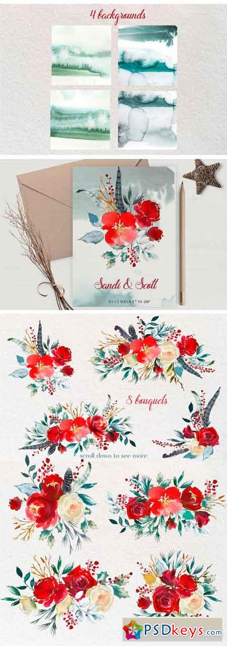 Boho Scandi Red Flowers PNG 1921788