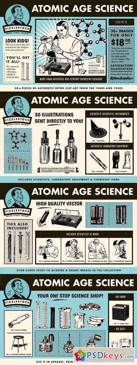 Atomic Age Science Part I Clip Art 1338588