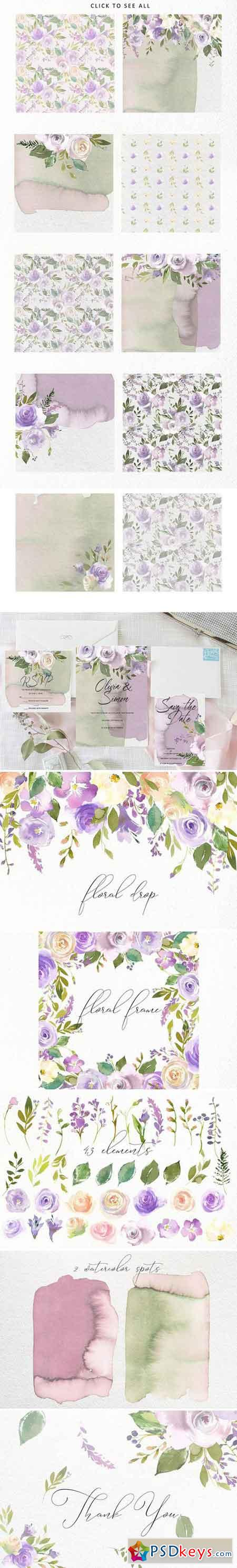 Bouquets de Mariee Watercolor Set 1890363