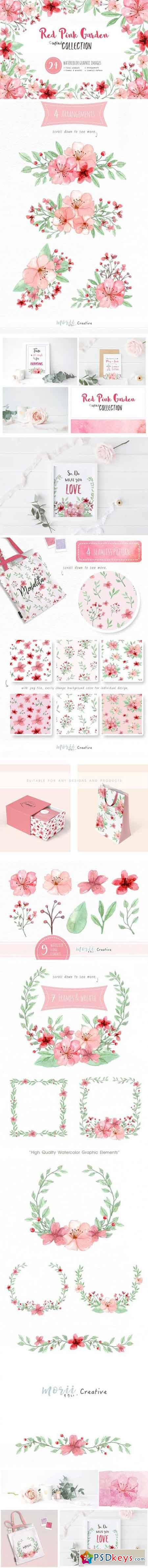 RedPink Garden Flower Graphic Set 1908827