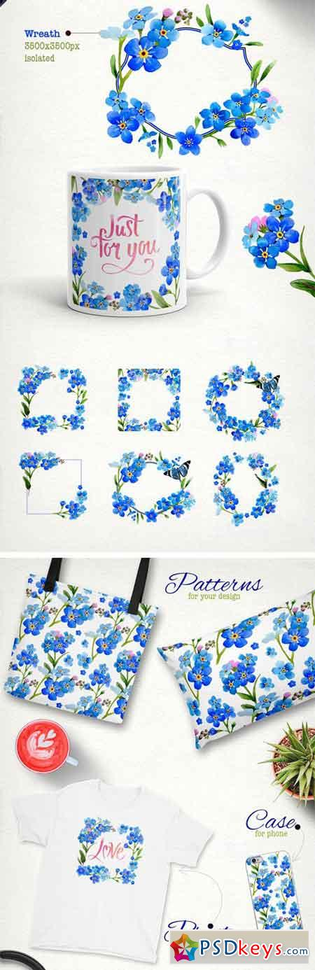 Myosotis Flowers PNG Watercolor Set 1920321