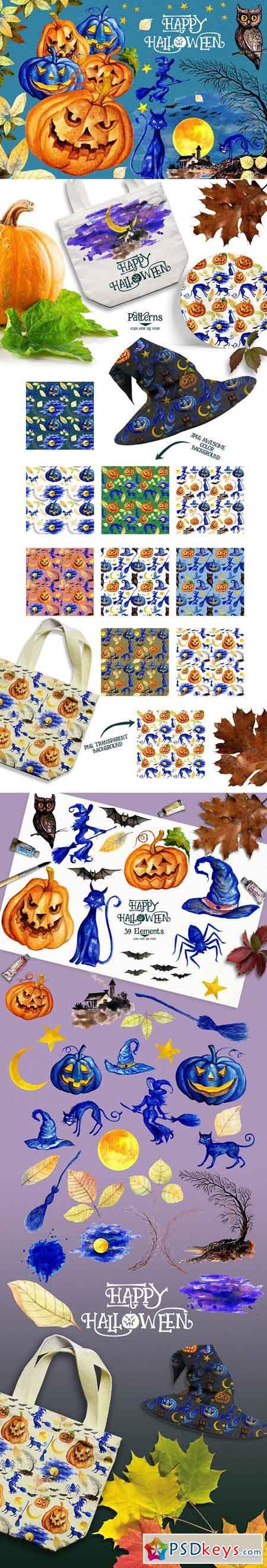 Watercolor Happy Halloween 909481