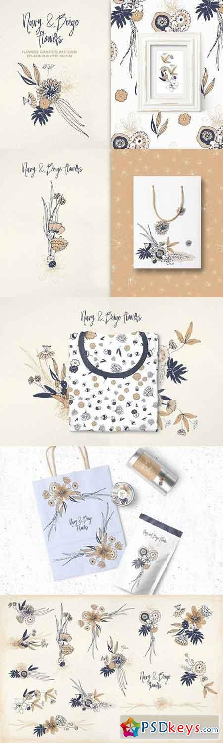 Navy and Beige Flowers 1479843
