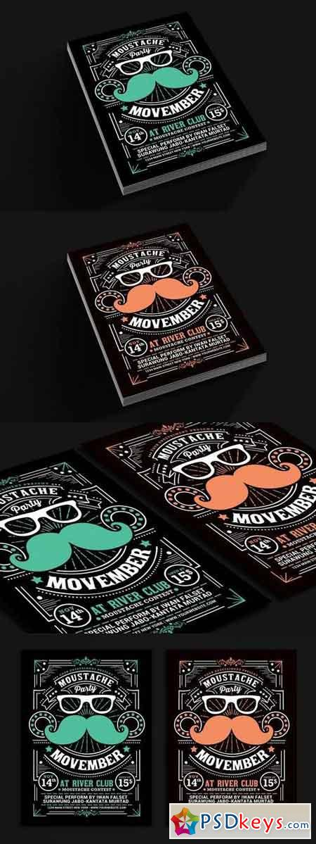 Movember Moustache Party Flyer 97489