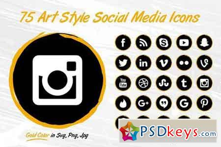 75 GOLD Art Style Social Media Icons 1808917
