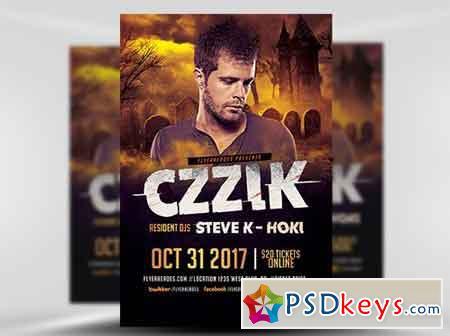 Halloween Night Dj Flyer Template Free Download Photoshop Vector