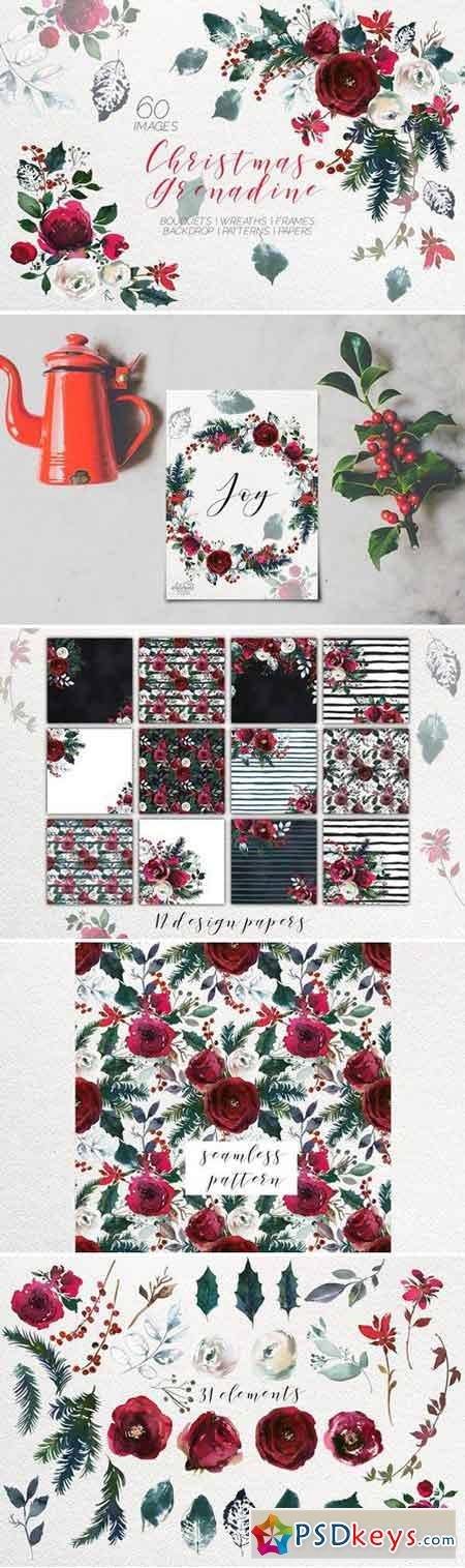 Christmas Watercolor Flowers Clipart 1852876