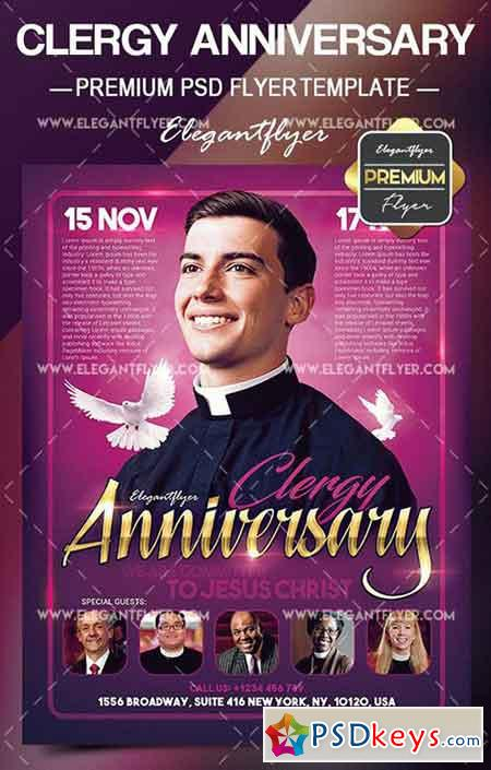 Clergy Anniversary – Flyer PSD Template + Facebook Cover