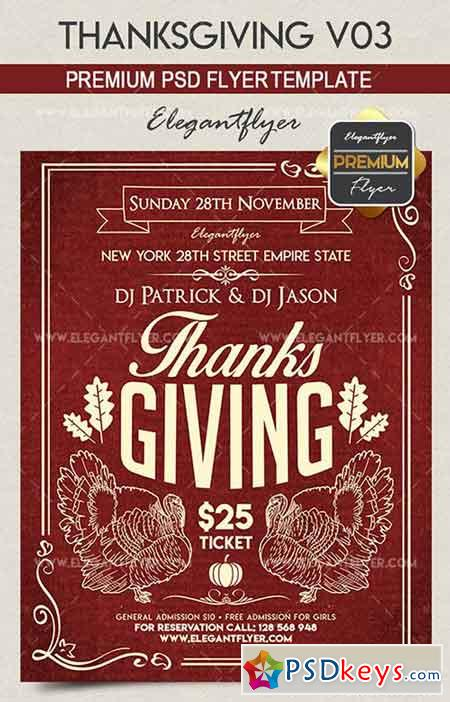 Thanksgiving V03 – Flyer PSD Template + Facebook Cover
