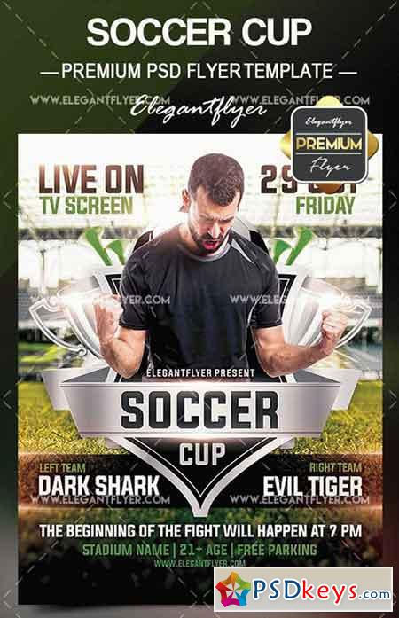 Soccer Cup – Flyer PSD Template + Facebook Cover