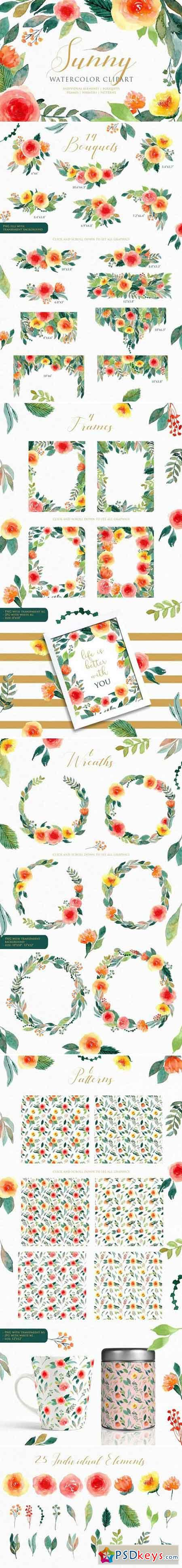 Sunny - Watercolor Floral Clipart 1926725