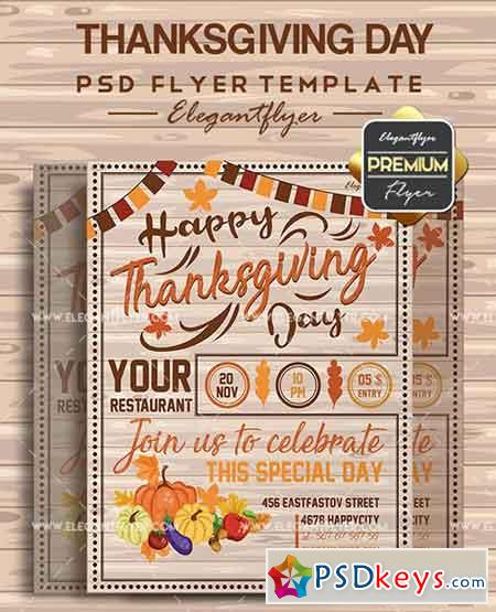 Thanksgiving Day V03 – Flyer PSD Template + Facebook Cover