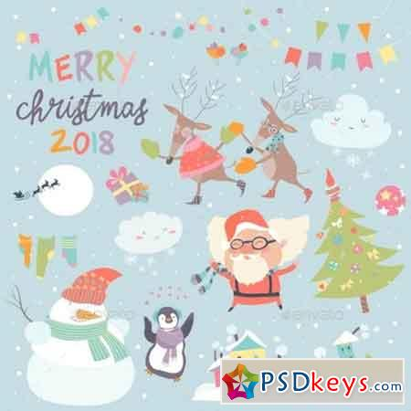 Set of Christmas Characters and Icons 20803091