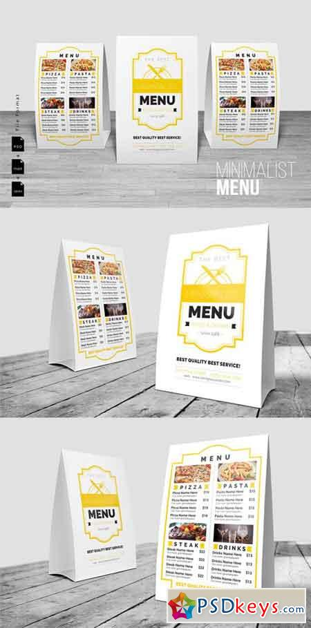 Minimalist Table Tent Menu