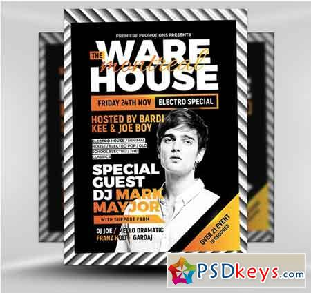 The Warehouse Bar Flyer Template V  Free Download Photoshop Vector
