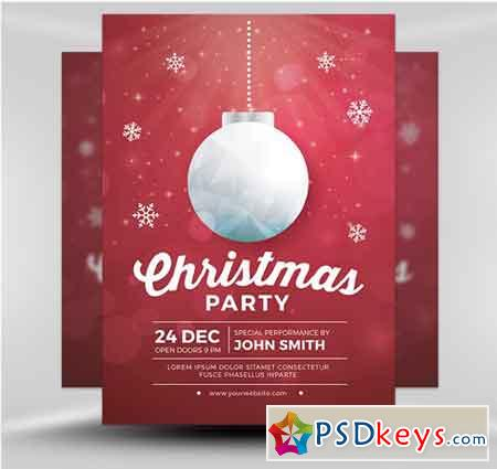 Simple Christmas Party Flyer Template Free Download Photoshop